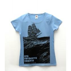 Koszulka ze zdjęciem żaglowca (błękit - przód)